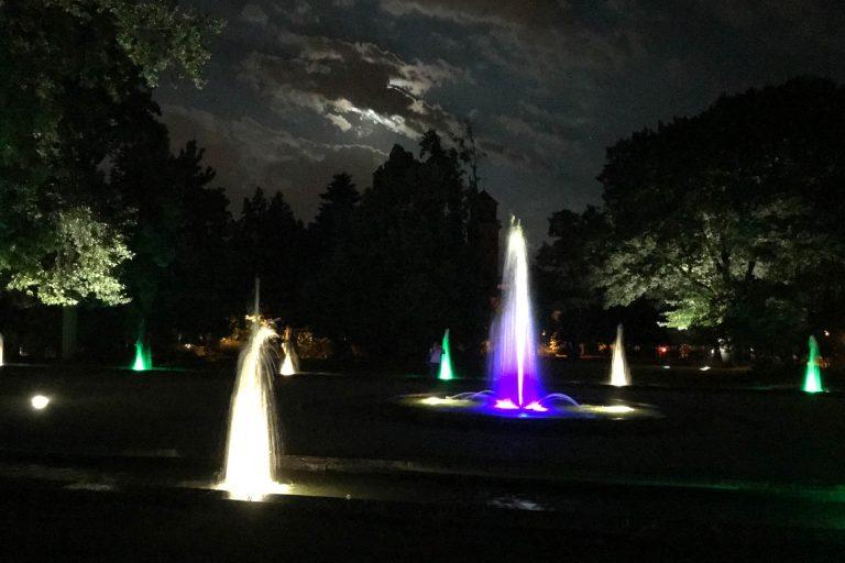 Brunnenbeleuchtung im Fontänenhof Fürth