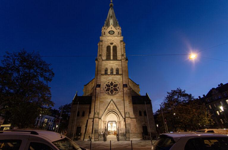 Anstrahlung Kirchturm St. Paul Fürth